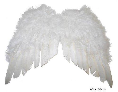 Karabu Mini Engelsflügel in weißer Feder 35x32 cm