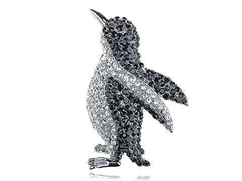 Alilang Silvery Tone Black Crystal Clear Colored Rhinestones Penguin Bird Brooch Pin