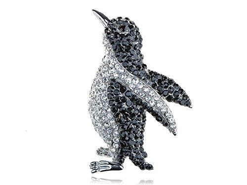 Entzückende Licht Schwarz Kristall Strass Silber Farbton Pinguin-Vogel Brosche