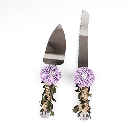 ridal Dusche Geschenk mit Bindfäden Griff Rustikal Hochzeit Kuchen Messer und Server Set (Rustikale Duschen)