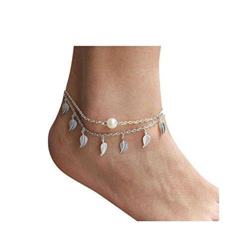 Vovotrade✿✿Womens Strand nachgemachte Perle barfuß Sandelholz Fuß Schmucksache Fußkettchen Kette (Silber)