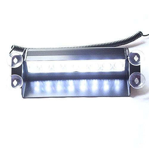 Weiße Blitzleuchten Und Blaue (Viktion 8 LEDs Hohe Intensität 12V Warnblitzleuchten Blitzleuchte Straßenräumer, Frontblitzer für Auto LKW Frontblitzer Feuerwehr Polizei mit 4 Saugnäpfen (weiß))