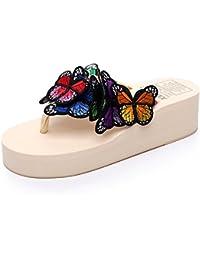 Pantoufles MEIDUO sandales 3.5CM artisanales à l'été féminin Lunettes de soleil papillon Chaussures de plage occasionnelles antidérapantes (taille, couleur optionnelle) Confortable