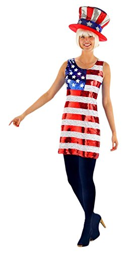 Folat 21928 - Glitter Kleid American USA-Flagge, Damen, (Party Kostüme Usa)