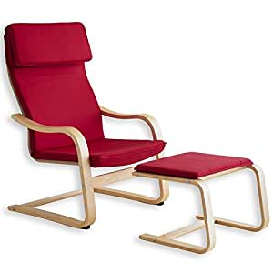 Fauteuil relaxation repose-pieds LINA housse coton rouge