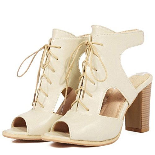 TAOFFEN Femmes Talons Hauts Sandales Classique Bloc Lacets Gladiateur Peep Toe Chaussures 631 Beige