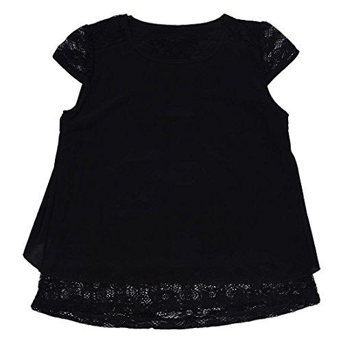 SODIAL(R) Hauts d'ete Bleu Sexy pour Femmes Chemises en Dentelle au Crochet de Mousseline Floral a Manches D'epaule Ample pour Femme XXL Noir