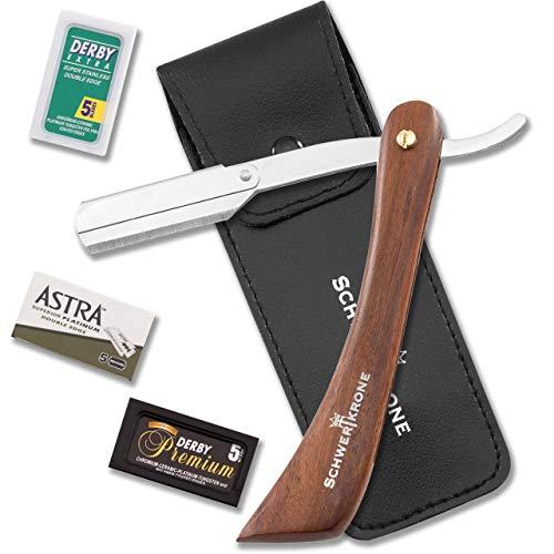 Shavette Wenig Rasierer (Schwertkrone Rasiermesser Wechselklinge Holzgriff 15,1 cm inkl 30 Rasierklingen (Klingen brechen) Astra Derby Extra Derby Premium)