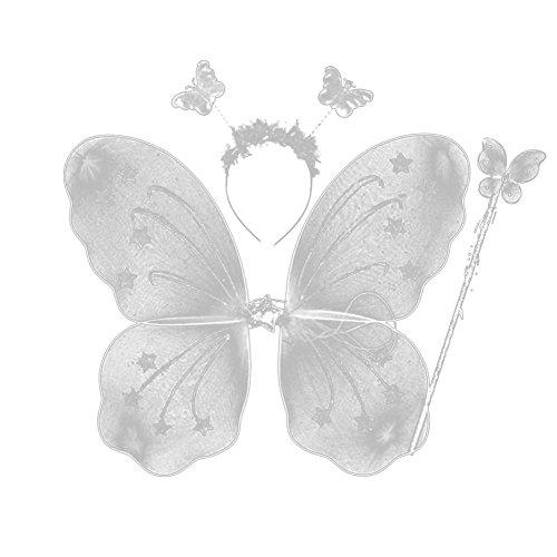 etterlingsfee Kostüm Flügel Stirnband Zauberstab Set ()