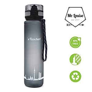 Mr. Louise Trinkflasche s Flascherl Hochwertige Flasche aus Tritan - 1l Fassungsvermögen - BPA Frei - Sportflasche für Sport, Fitness, Gym, Freizeit - Flasche der Stadt München