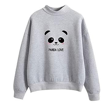 TITAP M-2XL Women Fashion Long Sleeve Panda Printed Sweatshirt Blouse Tops T -Shirt (Size:M, Gray)