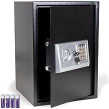 TecTake - Caja fuerte electrónica incluye 4 pilas color negro safe Caja de Seguridad mini hotel seguro + llave