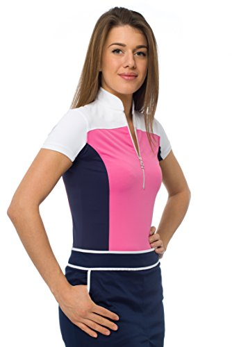 JELFY Elisa Damen Colorblock Golfshirt aus technischem Jerseystoff (M, hot pink) - Colorblock Golf
