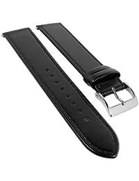 Junghans Max-Bill Ersatzband Uhrarmband Leder für 20mm schwarz 027/3500, 027/3501, 027/4600, 027/4601, 027/4700, 027/4701, 027/4800