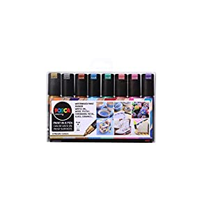 POSCA 153544856 8 mm Broad Chisel Acrylic Tip Waterbased Paint Marker - Assorted Colours (Pack of 8)