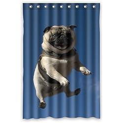 48cm (ancho) X 182,88cm (altura) Popular Pug cachorro 100% poliéster cortina de baño