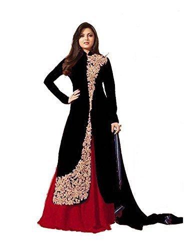 Freental Fashion Stylish Designer Black Unstitched Indo Western Choli Lehenga Suit Pakistani