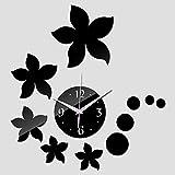 DAIKAI Neue Wanduhr Quarzuhr 3D DIY Acrylspiegel Aufkleber DIY Uhren Dekoration Echt Wohnzimmer Schwarz 45X45 cm