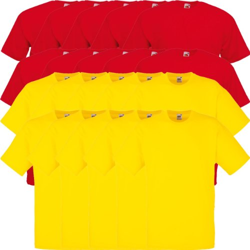 Fruit of the Loom Original Valueweight T Rundhals T-Shirt F140 5er 10er 15er 20er Pack 10x red 10x sunflower