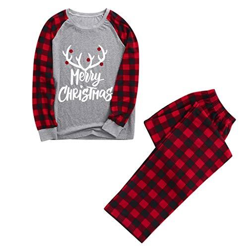 Fenverk Weihnachten Familie Outfit Set Matching Lange Ärmel Bluse + Plaid Lange Hosen Pyjama Set Xmas Schlafanzüge Nachtwäsche Feiertag Suit für Dad Mom Kinder Mädchen Jungen (H,Mom : XL)