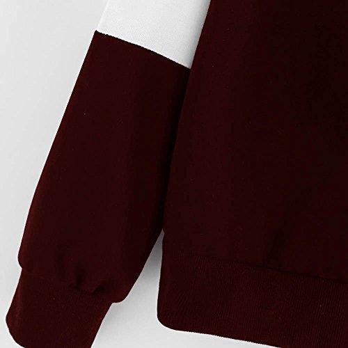 Felpe con Cappuccio per Donna - Moda Colore Impiombato Pullover con Coulisse Manica Lunga Loose Primavera Autunno Casual Cappotto Pull Giacca S-XL vino rosso