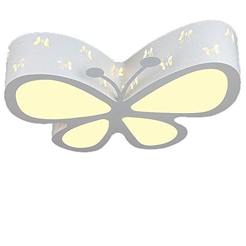 Malovecf Kinderzimmer Deckenleuchte Schlafzimmer Lampe LED kreative Schmetterling Beleuchtung Kindergarten Mädchen Prinzessin Raum Beleuchtung, 50 * 40 * 10CM, 24W, Weißes Licht (Weiß/Dimmbar mit Fernbedienung) (Schmetterling Und Blume Hängende Decken Dekoration)