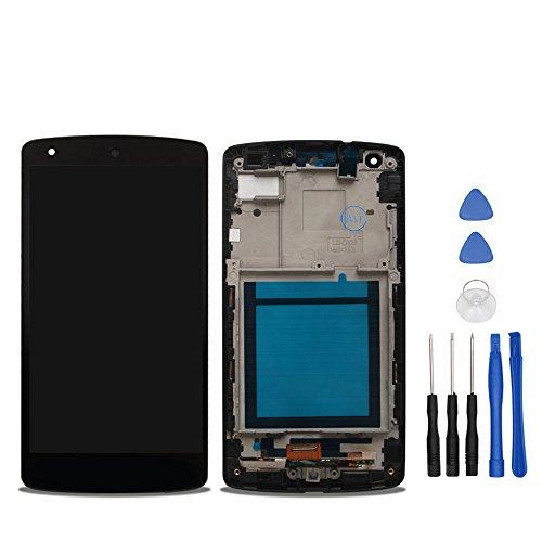 ocolor di riparazione e sostituzione per lg google nexus 5 d820 d821,lcd display + touch screen digitizer + frame con utensili inclusi (nero)