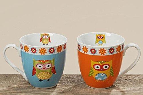 Preisvergleich Produktbild Porzellan Tasse Eule Kaffeebecher 2 er Set Teetasse Kaffeetasse gemischt 650ml Jumbobecher
