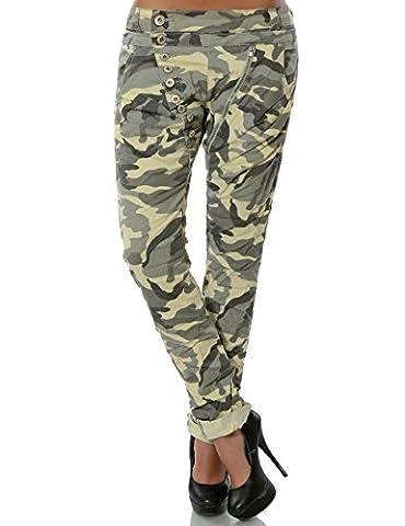Damen Boyfriend Jeans Hose Reißverschluss Knopfleiste (weitere Farben) No 14145, Farbe:Camouflage;Größe:36 / S