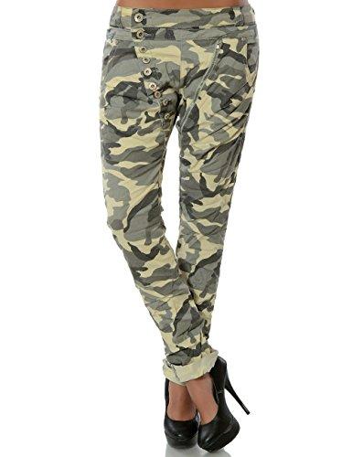Damen Boyfriend Jeans Hose Reißverschluss Knopfleiste (weitere Farben) No 14145, Farbe:Camouflage;Größe:34 / (Männer's Grün Stiefel Trachten)