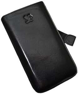 Original Suncase Echt Ledertasche (Lasche mit Rückzugfunktion) für Samsung Galaxy Note N7000 in schwarz