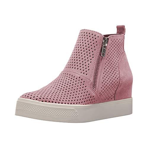 Sneakers donna zeppa platform stivaletti con tacco alte 5cm pelle mocassini eleganti scarpe da ginnastica estive comode nero beige grigio 34-43 pk34