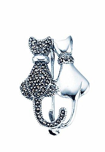TF Damen Anstecknadel Brosche Katzenform mit Markasiten Sterling Silber