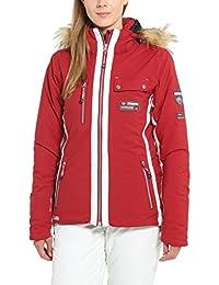 Ultrasport Women's Functional Alpine Outdoor Jacket Softshell Snowflake with Ultraflow 8.000, Red, L