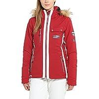 Ultrasport Damen Skijacke Snowflake in Rot o. Schwarz - Alpin Softshelljacke winddicht, wasserdicht & atmungsaktiv - Funktions Outdoorjacke mit Ultraflow 8.000