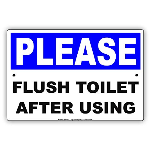 wenyige8216 Please Flush Toilet After Using Courtesy Cleanliness Maintenance Alert Caution Warning Notice Aluminum Metal Tin 8