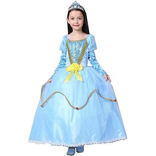 S&Z Frauen Halloween Kinder Große Kinder Performance Kostüme Pailletten Mesh Sophia Princess Bell Puff Kleid,Blue,S
