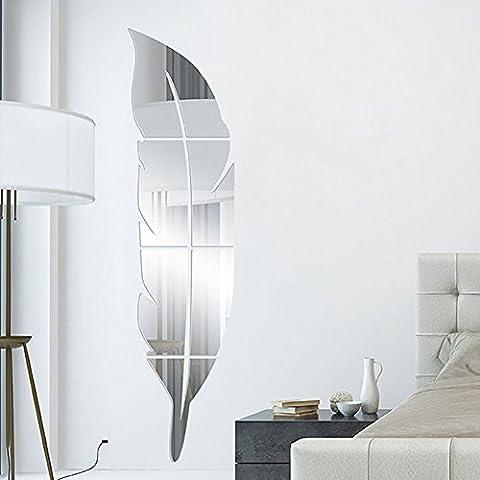 Togather® DIY 3D de acrílico de la pluma del espejo de pared principal de la sala de baño Decal murales de pared pegatina -