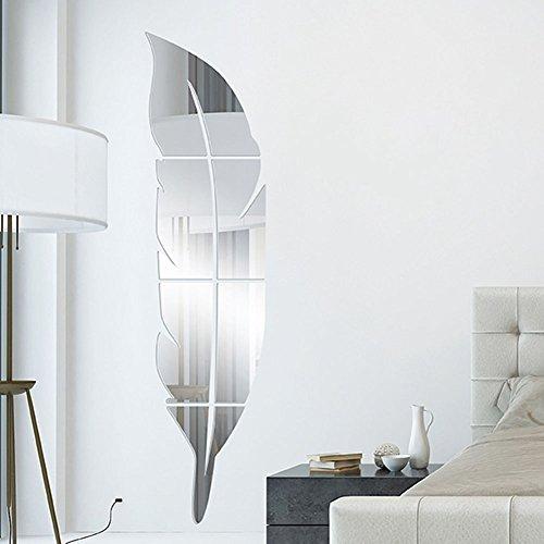 OurKosmos® DIY 3D Acryl Feder Wandspiegel Home Living Room Badezimmer Aufkleber Tapeten Wandaufkleber (Silber)