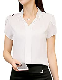 24830e2b59 PengGeng Mujeres Camisa Manga Corta Color Sólido Blusa Ocasional Oficina  Camiseta