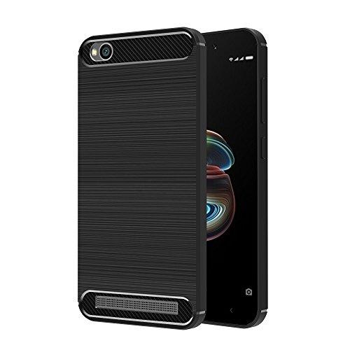 ivoler Funda para Xiaomi Redmi 5A, Diseño de Fibra de Carbon Ultra Fina TPU Silicona Carcasa Fundas Protectora con Shock- Absorción - Negro