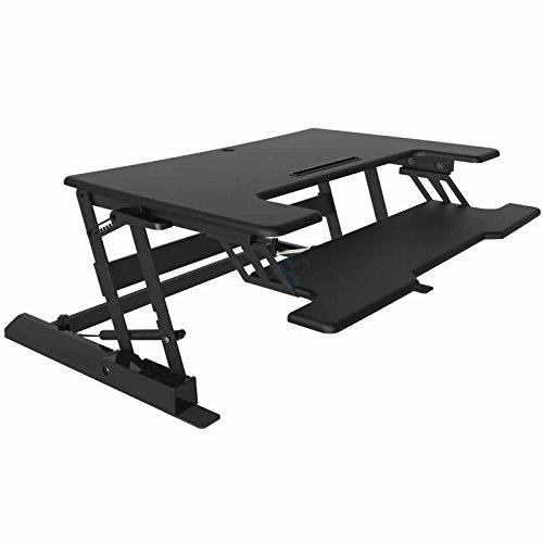 HFTEK Sitz-Steh Schreibtisch Arbeitsplatz Sit & Stand Desktop Laptop Workstation Höhenverstellbar...