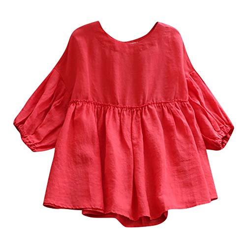 OverDose Damen Casual Übergröße Unregelmäßige Mode Lose Leinen Kurzarm Shirt Vintage Bluse Fest Hemd Lang Tank Tops T-Shirt Freizeit...