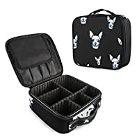 Mnsruu Chihuahua Dog Paw Print Makeup Cosmetic Case Organizer Portable Storage Bag Large Travel Makeup Case with Adjustable Dividers