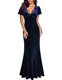 MIUSOL Damen Spitzen Velvet Kleid Vintage Samtkleid Elegant Brautjungfer Abendkleider