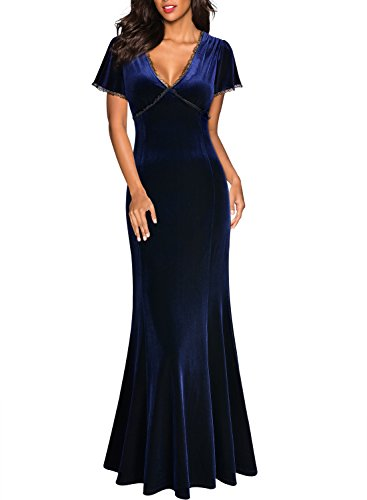Miusol Damen Spitzen Velvet Kleid Vintage Samtkleid Elegant Brautjungfer Abendkleider Navy Blau Gr.L