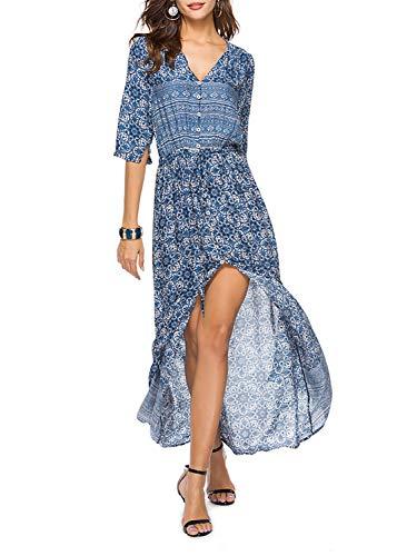 00258a5a88c Yidarton Robe Femme Bohème Impression Manche 1 2 Col V Chic Été Floral Robe  Maxi
