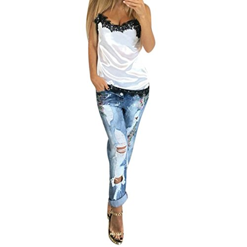 Yalatan Women Summer Lace Patchwork Vest Sleeveless Tank Tops White