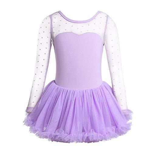 YAFEIYA Mädchen Kind Ballett Tänzerin Trikot Tupfen Mesh Ballett Tüll Kleid Kinder Ballett Kostüme Mädchen Tanz Trikot Dancewear,Purple,M -