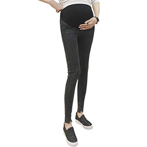 BOZEVON Bequeme Schwangere Frauen Lange Hosen Hohe Taille Volle Unterstützung Bauch Dünne Leggings (Schwarz, S)